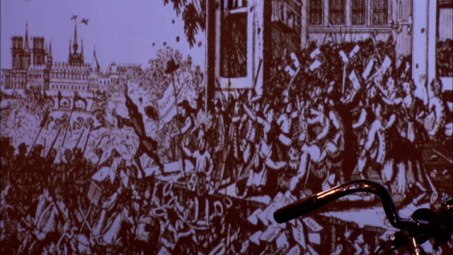 a scene from the french revolution is projected onto a wall and a bicycle resting against it. available in hd. - guillotine stock-videos und b-roll-filmmaterial