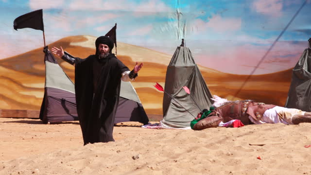 scene from the reenactment of the battle of kerbala at the ashura commemoration organised by hezbollah in nabatieh ashura is the 10th day of muharram... - ashura muharram stock videos & royalty-free footage