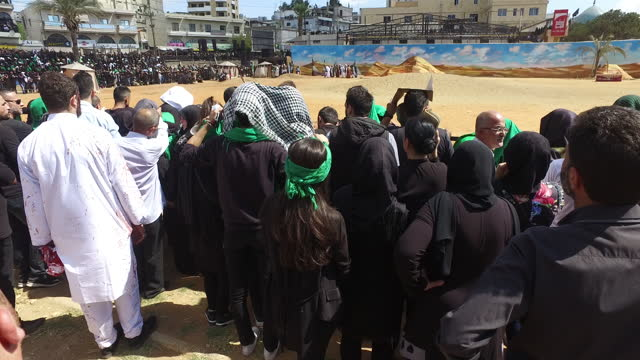 scene from the reenactment of the battle of kerbala, at the ashura commemoration organised by hezbollah in nabatieh. ashura is the 10th day of... - ashura muharram stock videos & royalty-free footage