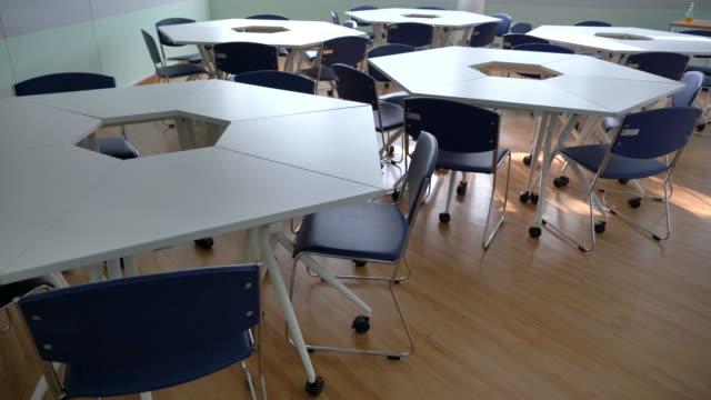 大学の空の教室のシーンインテリア, スローモーション