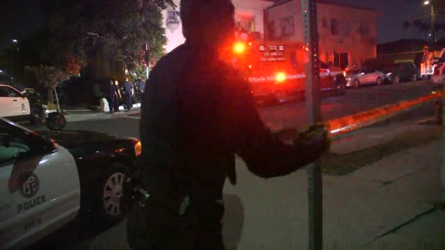 scene of a shooting/stabbing in rampart village. - los angeles police department stock videos & royalty-free footage