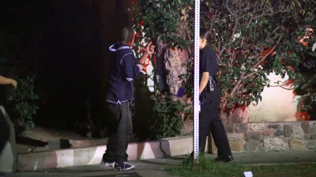 scene of a shooting/stabbing in rampart village - los angeles police department stock-videos und b-roll-filmmaterial