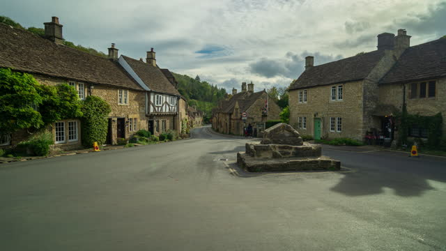 scene of castle combe town in the cotswolds, wiltshire, england - 4k time-lapse - english culture stock videos & royalty-free footage