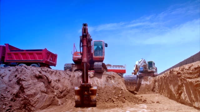 3 scene of excavator construction with color correction - construction vehicle stock videos and b-roll footage