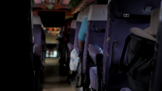scene of group people tourist unsteady inside the bus travelling - seat stock videos & royalty-free footage