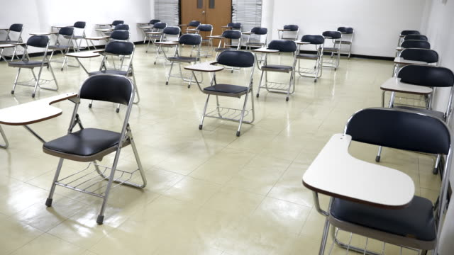 scene of interior empty classroom in university, concept of back to school, setting of chair in the room design social distancing - shaky stock videos & royalty-free footage