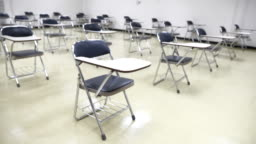 Scene of Interior empty classroom in university, Concept of back to school, setting of chair in the room design social distancing, new normal