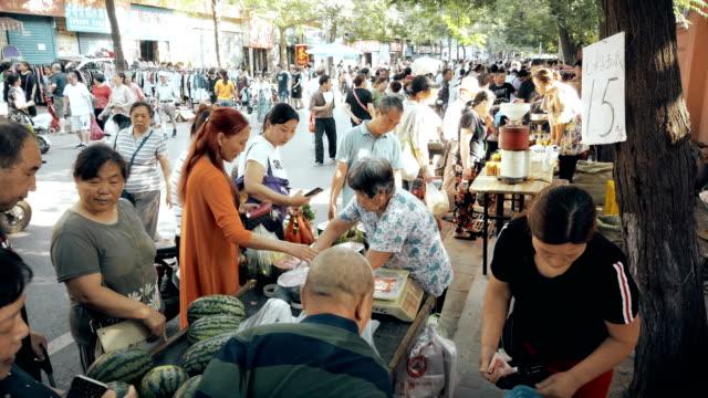 vidéos et rushes de scene of morning market,xi'an,china. - chine