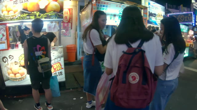 scene of street food market in taipei entrance - taipei stock videos & royalty-free footage