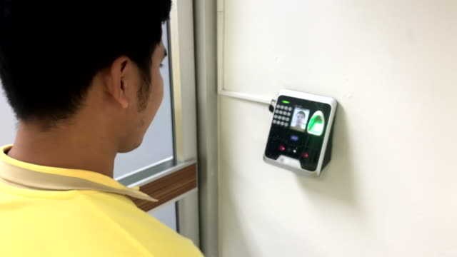scene of technician open the door in server room by electronic door control device pass through the server room with facial recognition technology - accessibility stock videos & royalty-free footage