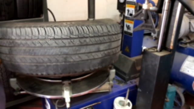 Scene of Tire changing at car service