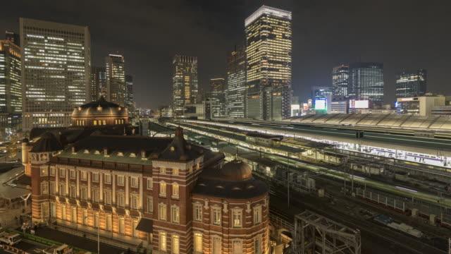 夜の東京駅のシーン - 高速列車点の映像素材/bロール