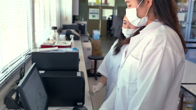 scene of two scientists using computer in research at laboratory, concept science and technology in laboratory, scientists working in laboratory - mid adult women stock videos & royalty-free footage
