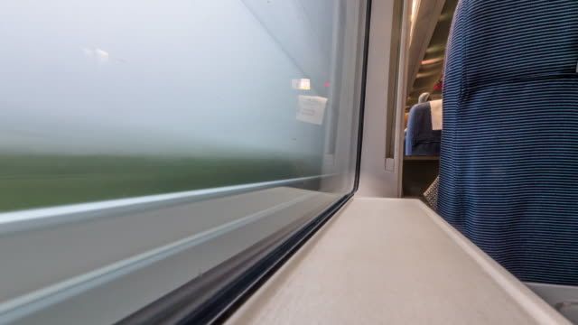 scene out of window of moving high speed train. timelapse 4k