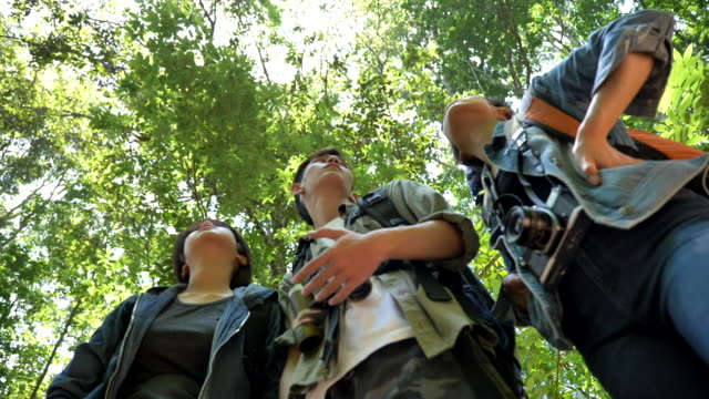 十代のアジアのバックパッカーのグループのシーンスローモーションは、森の中でハイキングし、夏休みに一緒に楽しみを楽しんでいます。彼らは幸せで、休日、リラクゼーションの瞬間に� - rainforest点の映像素材/bロール