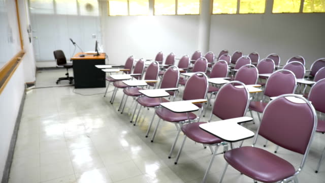 scene slow motion of interior empty classroom in university, concept of back to school - campus stock videos & royalty-free footage