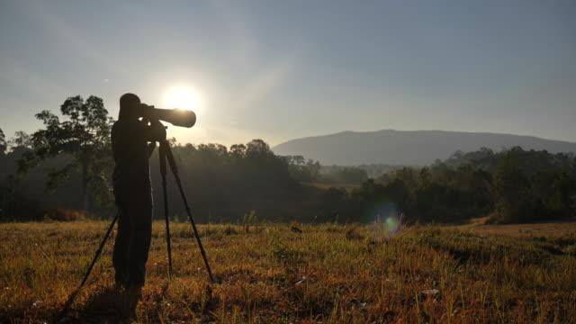 野生動物の写真のシーンスローモーションは、森の中で写真を撮ります, 人々のライフスタイル - デジタル一眼レフカメラ点の映像素材/bロール