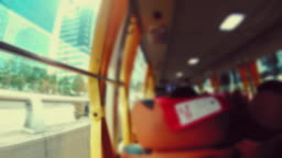 Scene time lapse defocus of view seoul city from the bus, Concept of travel, Transportation in Seoul