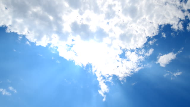 scene time lapse of cloudy sky with sun rays, clear blue sky, nature background - morphing stock videos & royalty-free footage
