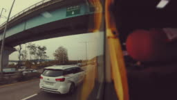 Scene time lapse of view seoul city from the bus, Concept of travel, Transportation in Seoul