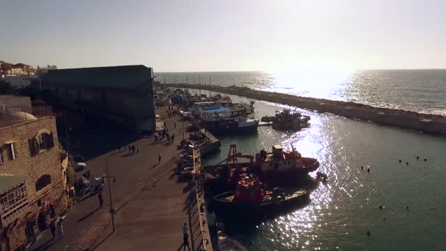 scenery around jaffa (ancient port city) seen from sky / jerusalem, israel - anchored stock videos & royalty-free footage