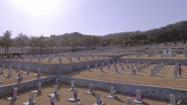 scenery of cemeteries in seoul national cemetery / dongjak-gu, seoul, south korea - number 7 stock videos & royalty-free footage