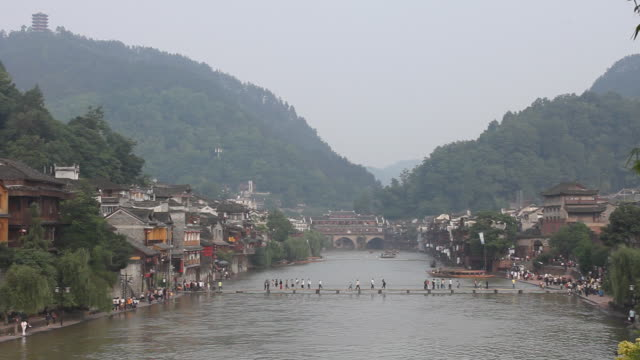 ws, scenery of chinese typical riverside town - pontoon bridge stock videos and b-roll footage