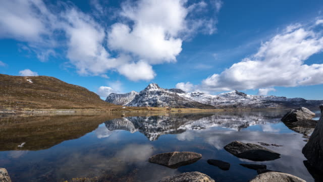 scenery of lake in lofoten islands, norway - lakeshore stock videos & royalty-free footage