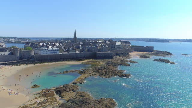 scenery of saint-malo city / brittany, france - waterfront stock videos & royalty-free footage