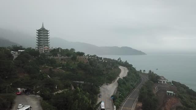 scenery of sea and road / danang, vietnam - pagoda stock videos & royalty-free footage