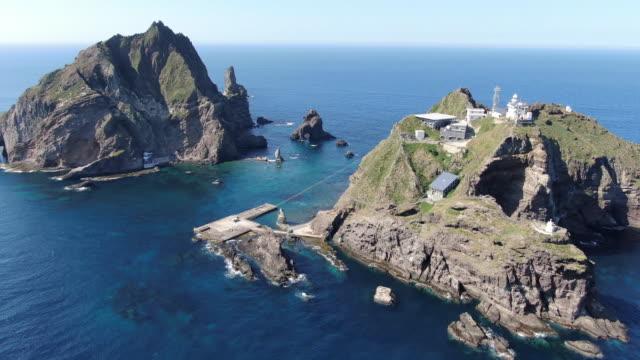 scenery of seodo island (west island) and dongdo island (east island) in dokdo island / ulleung-gun, gyeongsangbuk-do, south korea - north gyeongsang province stock videos & royalty-free footage