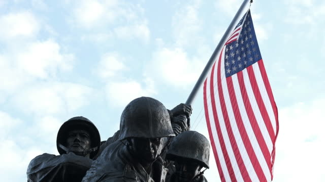 scenery of the iwo jima memorial; footage of run for the wall members cleaning the vietnam veterans memorial on washington dc, u.s. on saturday, may... - vietnam veterans memorial video stock e b–roll