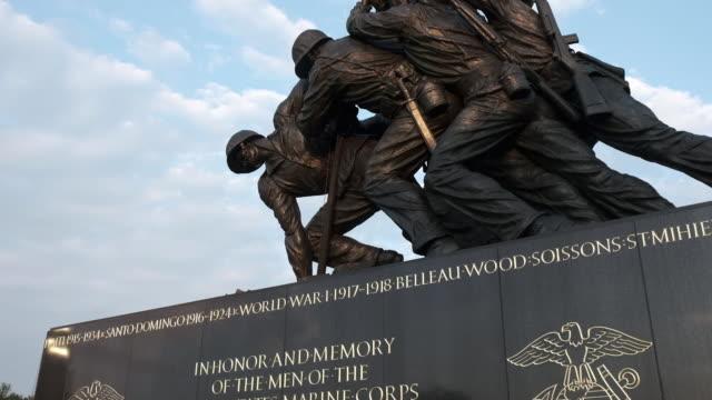 scenery of the iwo jima memorial; footage of run for the wall members cleaning the vietnam veterans memorial on washington dc, u.s. on saturday, may... - ベトナム戦争戦没者慰霊碑点の映像素材/bロール