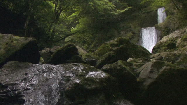 scenery of tranquil, beautiful nature with waterfall - okutama area stock videos & royalty-free footage