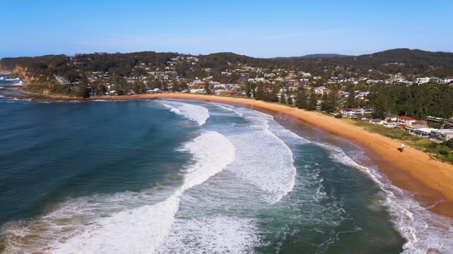 scenery of village and sea at avoca beach in central coast / new south wales, australia - tourism stock videos & royalty-free footage