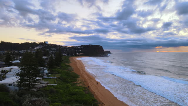 scenery of village and sea at avoca beach in central coast / new south wales, australia - village stock videos & royalty-free footage