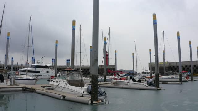 scenery of yacht at jeongokhang port / hwaseong-si, gyeonggi-do, south korea - anchored stock videos & royalty-free footage