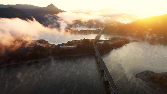 scenery of yongdamho lake / jinan-gun, jeollabuk-do, south korea - 朝鮮半島点の映像素材/bロール