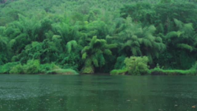 vídeos de stock e filmes b-roll de scenery view in rainy day , river and mountain background - criação