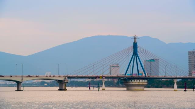 scenery view of dragon bridge in danang ,vietnam - danang stock videos & royalty-free footage