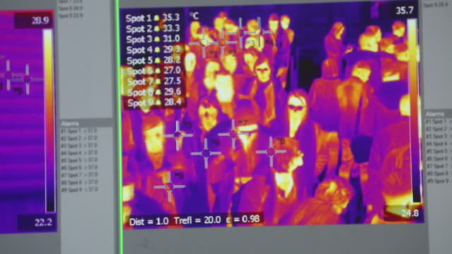 "scenes from belgrade ""nikola tesla"" airport where passengers are scanned for temperature exam, belgrade, vojvodina, serbia,on monday, march 2, 2020. - thermal imaging stock videos & royalty-free footage"
