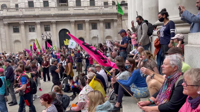 """scenes from extinction rebellion """"blood money march"""" protest as part of their impossible rebellion campaign, near the bank of england in city of... - western script stock videos & royalty-free footage"""