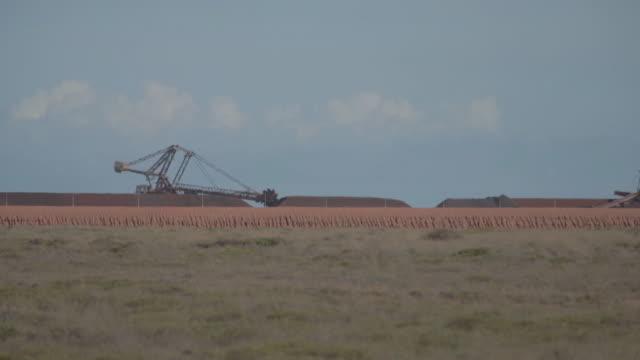 scenes from industrial areas port hedland western australia australia on monday march 18 2019 - minerale di ferro video stock e b–roll