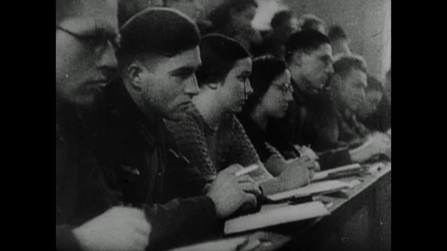 scenes from inside the geopolitics institute at the university of munich, headed by karl haushofer, allegedly showing all the information the germans... - 1943 stock-videos und b-roll-filmmaterial