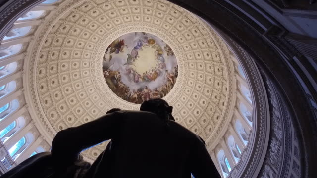 scenes from interior of the u.s. capitol rotunda in washington, d.c., u.s., on monday, december 16, 2019. - dome stock videos & royalty-free footage