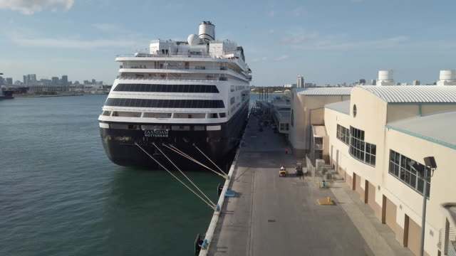 scenes from port of everglades while holland america line zaandam cruise ship entering harbor two carnival corp ships got conditional approval to... - kreuzfahrt stock-videos und b-roll-filmmaterial
