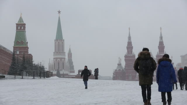 scenes from red square and kremlin exteriors in winter scenery, moscow, moskovskaya oblast, russia, on thursday, february 6, 2020. - red square stock videos & royalty-free footage