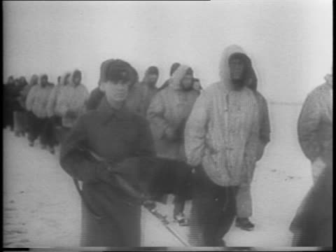 scenes from the end of a winter battle between the soviet union and germany / burning nazi vehicles and equipment nazi flag / nazi soldiers lie dead... - battaglia video stock e b–roll