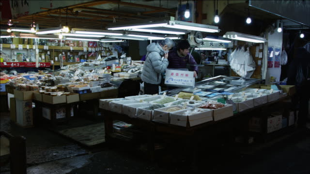 scenes from the tokyo metropolitan central wholesale market (????????? t?ky?-to ch?? oroshiuri shij??), commonly known as the tsukiji market (???? tsukiji shij??) - 商売場所 市場点の映像素材/bロール