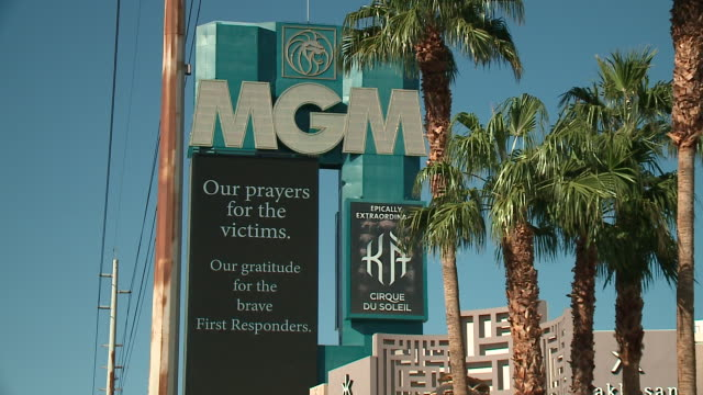 wgn scenes in las vegas four days after stephen paddock fired into a crowd of thousands during route 91 harvest a country music festival from his... - mandalay bay resort and casino stock videos & royalty-free footage